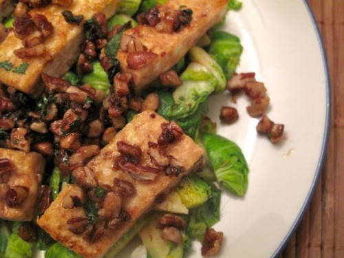 how delicious this Caramelized Tofu with Pecans and Brussels Sprouts ...