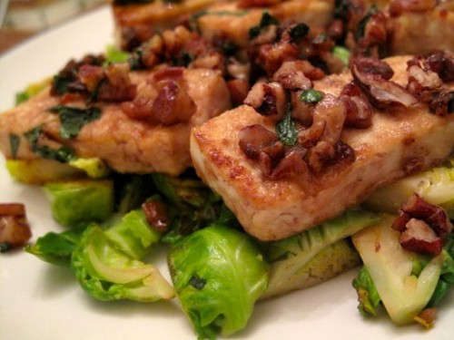 Caramelized Tofu with Pecans and Brussels Sprouts | Health for the ...